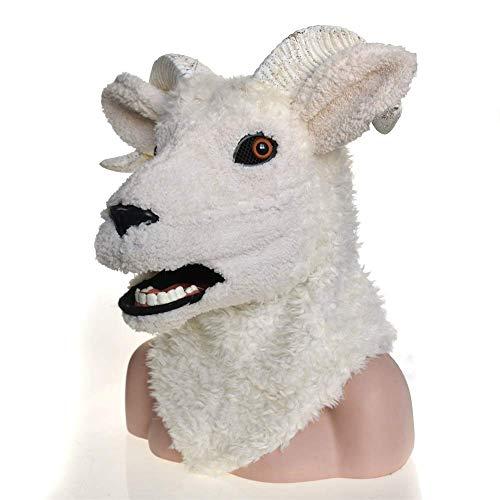 LZY Masken Cosplay Karneval Kostüm Lamm Schaf Maskerade Vollkopf Tier Maske für Erwachsene Halloween Kostüm,Weiß (Tier Maskerade Kostüm)