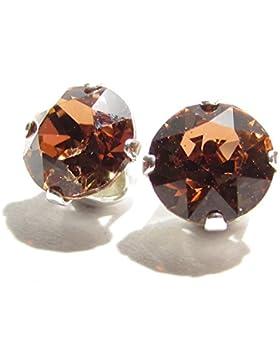pewterhooter 925 Sterling Silber Ohrstecker Ohrringe handgefertigt mit Smoked Topaz Kristall aus SWAROVSKI®.