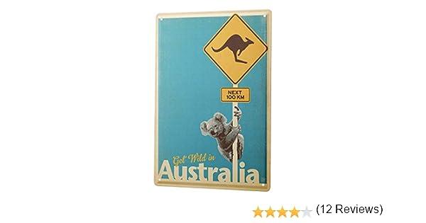 leotie fashion/&lifestyle Plaque /Émaill/ée Voyage Autour Du Monde Australie kangourou koala Signes D/écorative 20X30 cm