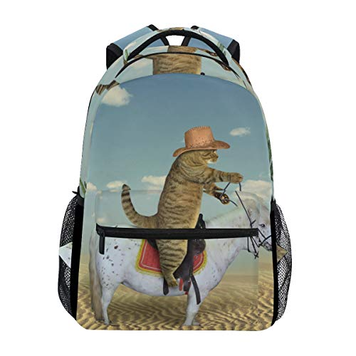 Schultasche Backpacks Cat Cowboy Bookbags Bag for Girls Kids Elementary