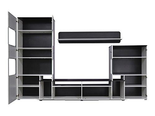 trendteam LU00202 Wohnwand Wohnzimmerschrank Weiss Hochglanz, Absetzungen schwarz, BxHxT 310 x 198 x 47 cm - 4