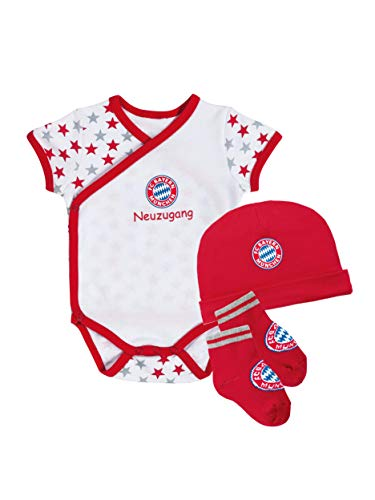 FC Bayern München Baby Set, dreiteilig mit Body, Mütze und Söckchen, Größe 68/74
