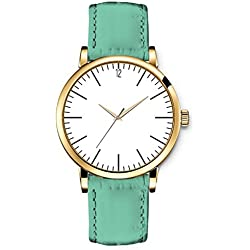 iCreat Ladies Quartz Watch Leather Strap Green Sweet Simple White dial Golden Case with Black Numer