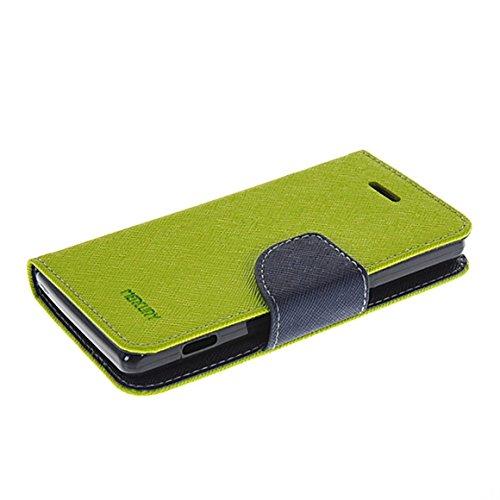 COOLKE Xperia M Hülle, Mode Zwei Farben magnetische Leder Tasche Flip Case Cover Schutzhülle Hülle Schale Für Sony Xperia M C1904 C1905-Grune