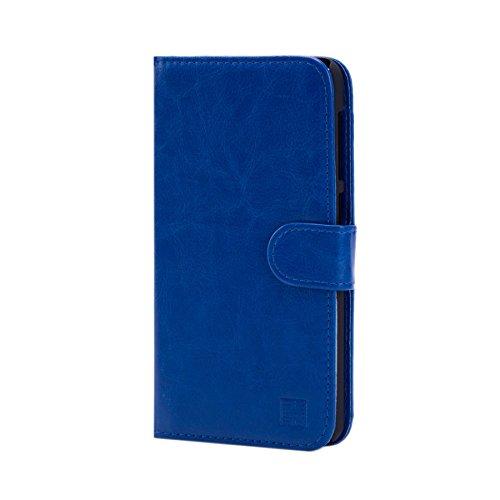 32nd PU Leder Mappen Hülle Flip Case Cover für HTC Desire 825, Ledertasche hüllen mit Magnetverschluss und Kartensteckplatz - Blau