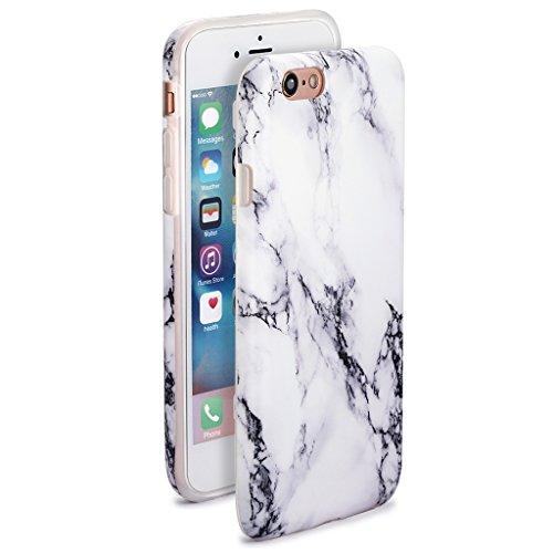 5.5 iPhone 6 Plus 6S Plus SGSELLER TPU Slim Fit Ultra Dünn Stoßfest Anti-Kratz Anti-Fingerabdruck Matt Schutzhülle Gehäuse, Plastik, Marmor (Holz) Marble (White Streaks)