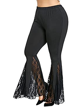 Juleya Mujer Pantalones de Yoga Cintura Baja Pantalones Acampanados Pantalones de Encaje con Mallas Patchwork...