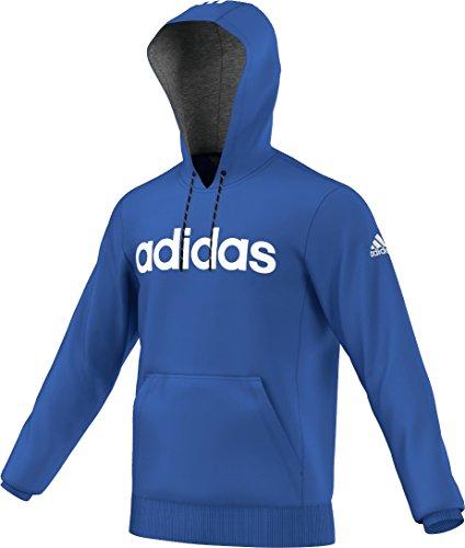 Adidas - Felpa da uomo, con cappuccio, Essentials Linear 3 S, colore: Blu, taglia: L, AB6274