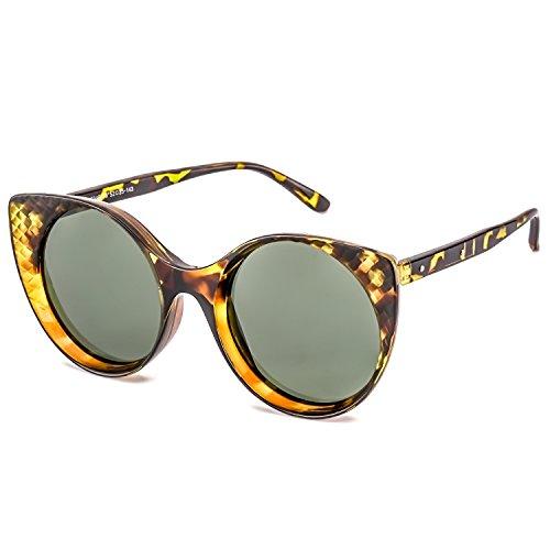 Les Lunettes de Soleil Polarisées par Oeil de Chat Rétro pour Femmes Ultra-léger la Protection UVA/UVB de Cadre100% de (Cadre en écaille de tortue Lentille Verte)