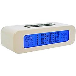 Snooze-light Multi-Functioning White Digital Alarm, Temperature Day & Date Clock