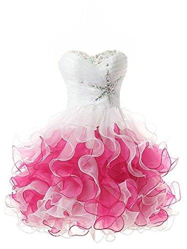 JAEDEN Giovanile Senza spalline Organza Abiti da ballo Corto Abito da promenade Vestito da festa Rosa EUR54