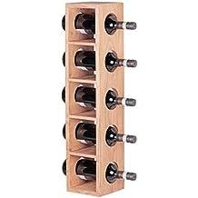 Wohnling wl1.768–Estantería de madera maciza de acacia botellas de vino pared montaje para 5botellas Botellero de madera Estante Modern con repisa (70cm, madera, 15x 15x 70cm