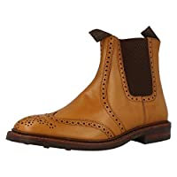 Mens Loake Boots - Tan Pull On Brogue - Thirsk