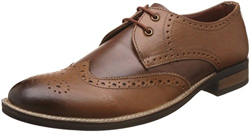 Auserio Men's Brown and Tan Leather Formal Shoes - 9 UK/India (43 EU)(SS 292)