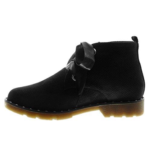 Angkorly Chaussure Mode Bottine Derbies Desert Boots femme Lacet ruban satin perforée clouté Talon bloc 3 CM Noir