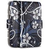 tinxi® Kunstleder Tasche für Apple iPhone 4 4S Tasche Schutzhülle Schale Etui Flipcase Cover Standfunktion mit Karten Slot weiß Blume in Schwarz