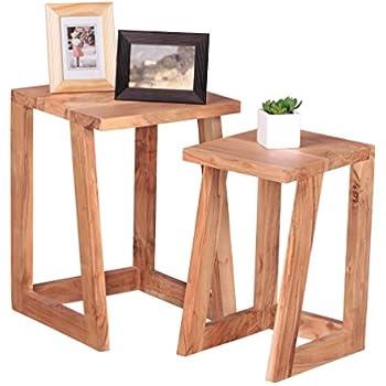 finebuy 2er set beistelltisch massiv holz akazie design satztisch wohnzimmer tisch rund. Black Bedroom Furniture Sets. Home Design Ideas