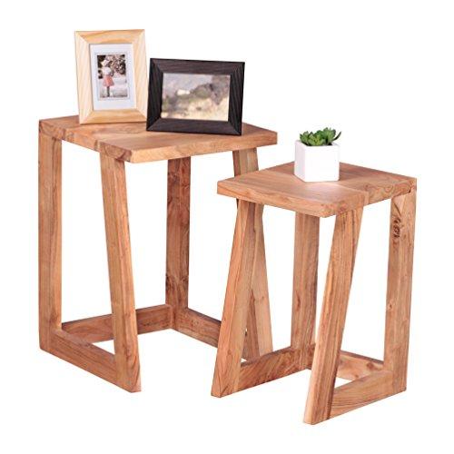 WOHNLING 2er Set Beistelltisch Massiv-Holz Akazie Design Satztisch Wohnzimmer-Tisch rund Couchtisch Natur-Holz dunkel-braun Nachttisch Landhaus-Stil Nachtkommode Untergestell Telefontisch 50 cm hoch