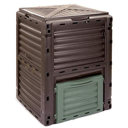 Garten Komposter Kunststoff 300l mit Deckel – Made in Europe – Thermokomposter Schnellkomposter reduziert Küchen- und Gartenabfälle und macht daraus wertvolle Pflanzennahrung