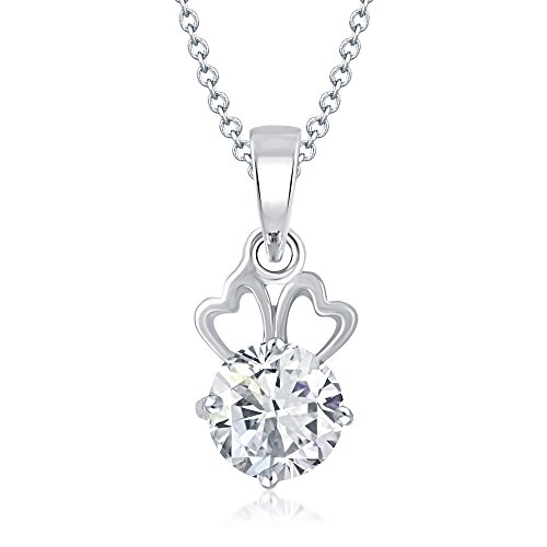 V. K. Jewels Efflorescent Rhodium Silver Brass Alloy Cz American Diamond Pendant Necklace For Women Vkp1062R  available at amazon for Rs.199