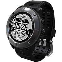 DoMoment Pantalla de 1,2 Pulgadas Impermeable Senderismo al Aire Libre Funcionamiento Reloj Inteligente Monitor de Ritmo cardíaco GPS Termómetro Reloj Deportivo