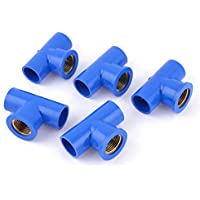 Sourcingmap a14032100ux0169 - 1/ 2pt femminile tubo 20 millimetri tubo filettato tee connettore raccordo blu 5 pezzi