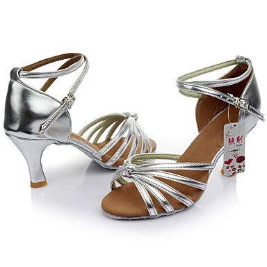 Silence @ Chaussures de danse pour femme en satin/similicuir Latin/salle de bal/Samba Sandales Talon d'intérieur Plus de couleur Noir/doré