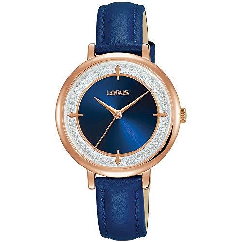 Lorus Femme 32mm Bracelet Cuir Bleu Boitier Laiton Quartz Montre RG290NX9