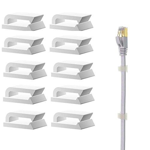Selbstklebend Kabelhalter / Kabelclips, 100 Stück Kabelbinder für Ethernet Flachkabek geeignet