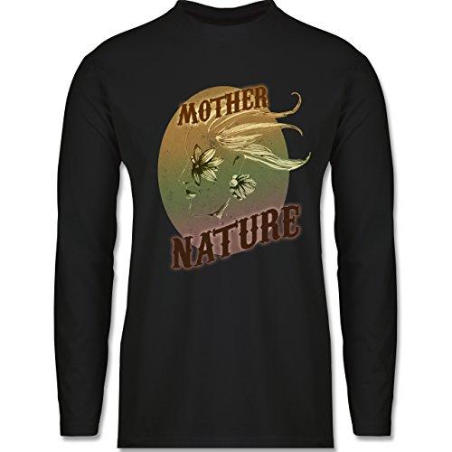 Shirtracer Vintage - Mother Nature - Herren Langarmshirt Schwarz. Das langärmelige  Shirt der Marke B&C für ...