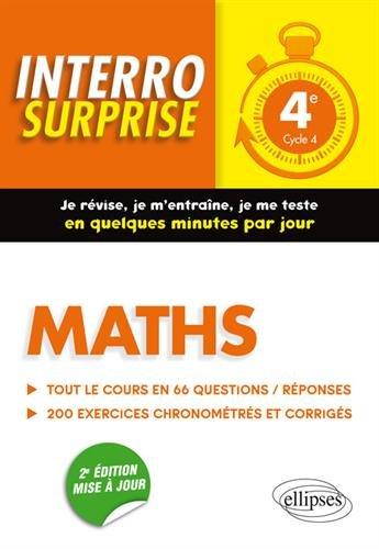 Maths 4e - Tout le cours en 66 questions/réponses et 200 exercices chronométrés et corrigés - 2e édition mise à jour par Cédric Bertone