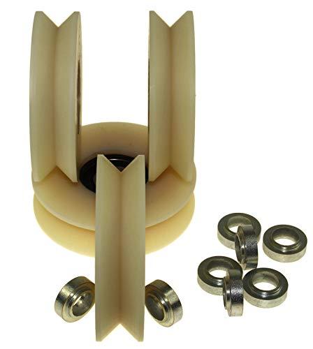 V80-20-12-Spacer) 4 Stück Nylon Polyamid Riemenscheibe 80 mm Ø mit 90° V Nut Schiebetorrad Made in EU