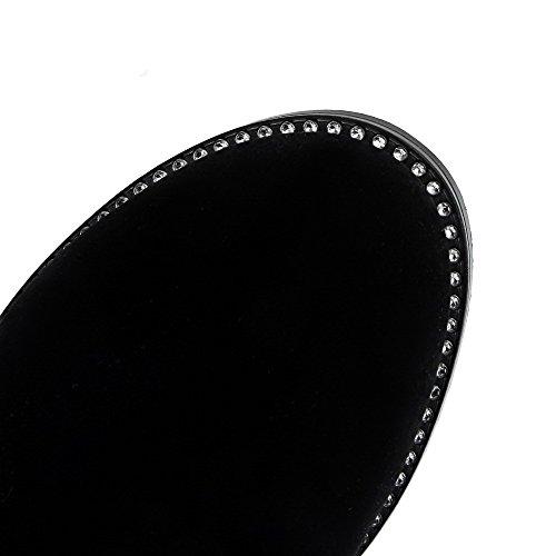 AgooLar Damen Mittler Absatz Eingelegt Rund Zehe Reißverschluss Stiefel Schwarz