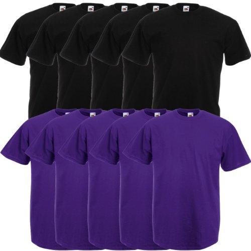 Fruit of the Loom Original Valueweight T Rundhals T-Shirt F140 5er 10er 15er 20er Pack 5x black 5x purple