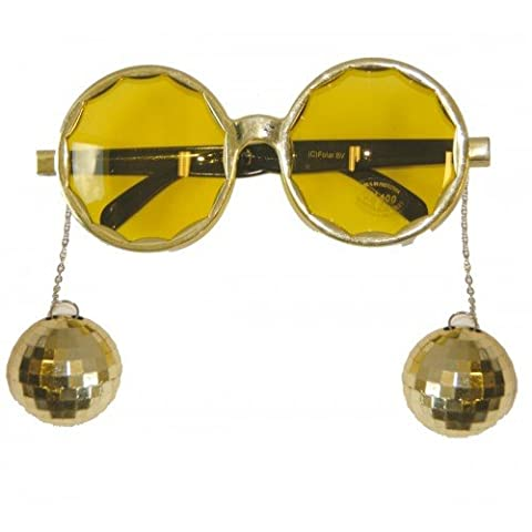 Party Glasses Disco Gold with Balls