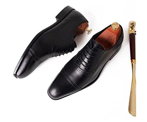 SHIXR Männer Oxford High-Grade First-Class Leder Schuhe Trend Wölbung Herrenschuhe Business-Kleid Hochzeit Schuhe Flat Head Herrenschuhe black lace