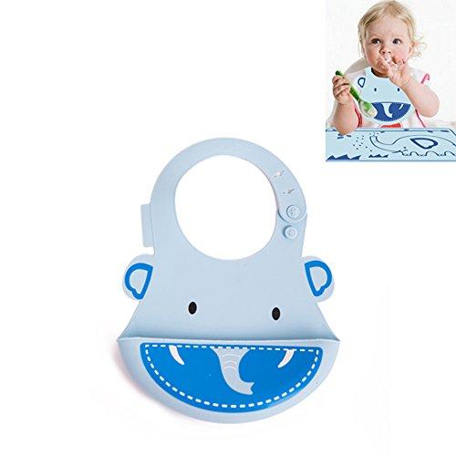 Estilo INCHANT animal linda de baberos para bebés a prueba de agua babero de silicona suave para el bebé Los niños pequeños con el receptor Roll Up Alimentos de bolsillo, fácil de limpiar y Wear baberos de alimentación cómodas - Diseño azul del elefante