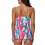 1172bffb66fe7e XuxMim Damen Tankini Sets Mit Jungen Shorts Damen Bikini Set Bademode Push- Up Gepolsterter BH(Rosa,Large