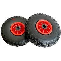 D&F - Ruedas para carretilla (2 unidades, 260 mm, poliuretano, antipinchazos, no requiere el uso de infladores, 3.00-4)