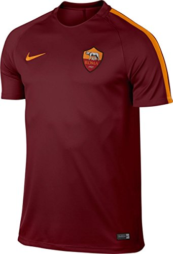 Nike Roma M NK Dry SQD Top SS Maillot manches courtes AS Roma pour homme, Rouge (Team Filet / Kumquat / Kumquat) rojo (team red / kumquat / kumquat)