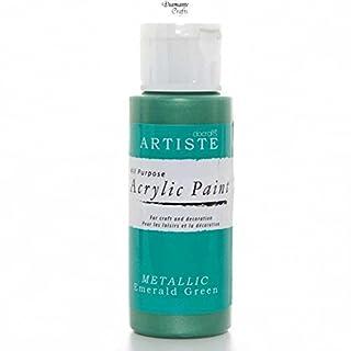 Docraft Artiste Acrylic Paint - Metallic Pearl Varnish Crackle Mediums Glitter (Metallic Emerald Green)