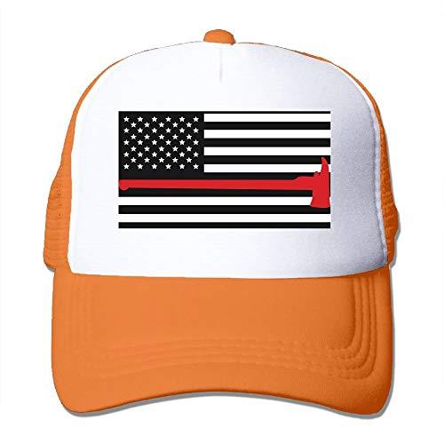 Erwachsene Unisexkappe Feuerwehrmann Rote Linie Flagge Axt Mesh Caps Papa Baseballmütze Einstellbare Trucker Cap für Mens & Womens (Erwachsene Rot Feuerwehrmann Hut)