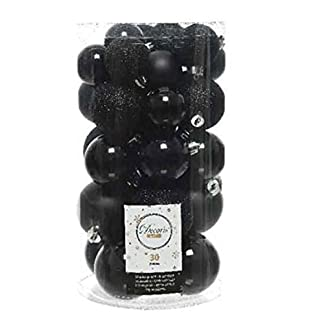 EN-Christbaum-Kugeln-Weihnachts-Kugel-Mix-Kcher-30-Kugeln-schwarz-bruchfester-Kunststoff