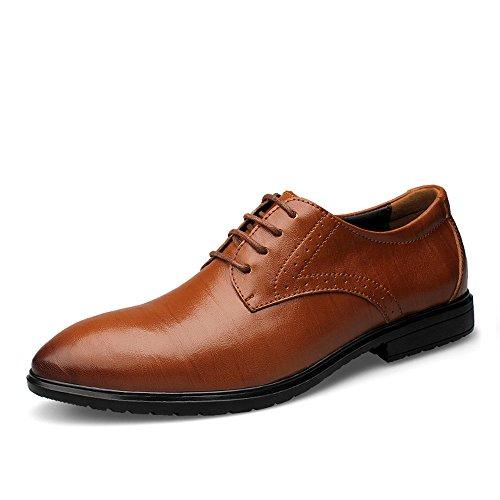 Jingkeke Herren Classic Echtes Leder Business Oxfords Herren Lässige Formale Party Hochzeit Kleid Schuhe auffällig (Color : Braun, Größe : 45 EU)