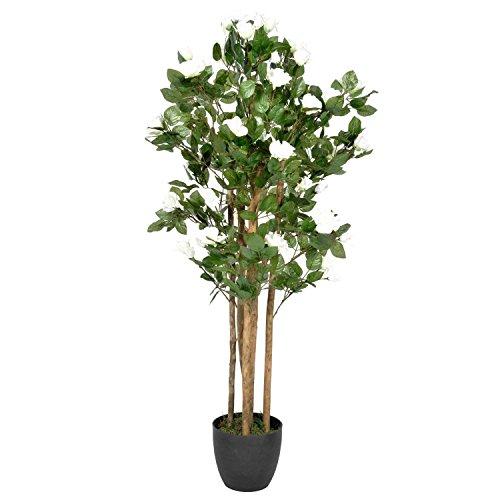 Homescapes Deko Kunstpflanze Rosenbaum ca. 122 cm Kunstbaum m im Topf, Künstliche Pflanzen