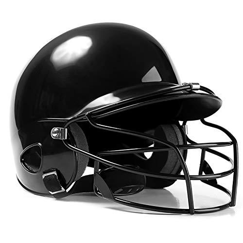 OOFAYWFD Baseball-Helm, Jugend und Kinder Erwachsene Baseball und Softball Helm Multicolor Gürtel Maske Outdoor-Sport ABS-Material,Black (Kinder Softball-helm)