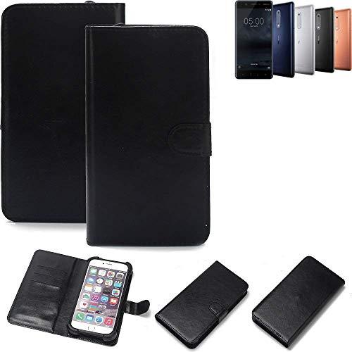 K-S-Trade Wallet Case Handyhülle Nokia 5 Dual-SIM Schutz Hülle Smartphone Flip Cover Flipstyle Tasche Schutzhülle Flipcover Slim Bumper schwarz, 1x