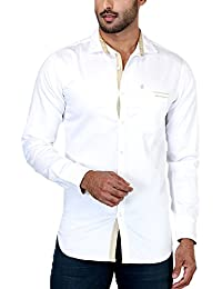 Rapphael Long Sleeve Slim Fit Shirt For Men - White