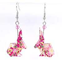 Boucles d'oreilles lapins origami roses et dorés - crochets inox