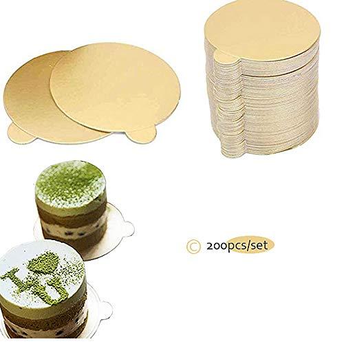 Mini circulo grande base de pastel de cartón dorado cuadrada, bandeja para pasteles, base de plato de postre   ❤️  AMPLIA APLICACIÓN:   Coloque cualquier pastel en el tambor.  ❤️  CARACTERÍSTICAS:   Impermeable y resistente al aceite, tiene un efect...